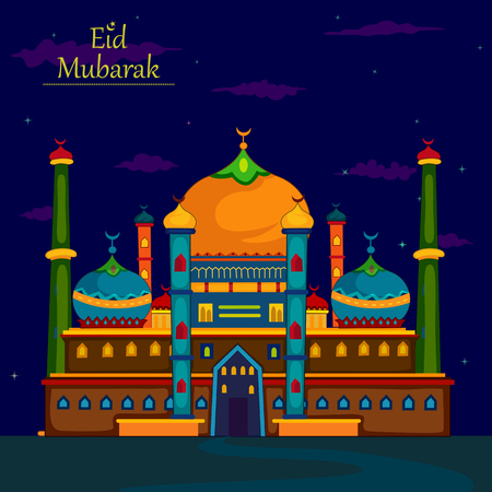 Decorated mosque in Eid Mubarak Happy Eid Ramadan background Illustration