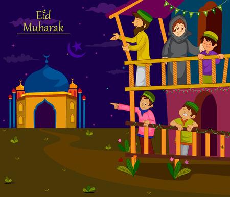 family holiday: Muslim families wishing Eid Mubarak,Happy Eid on Ramadan in vector