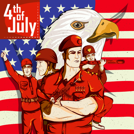 Army man on 4th of July Happy Independence Day America background in vector Illustration