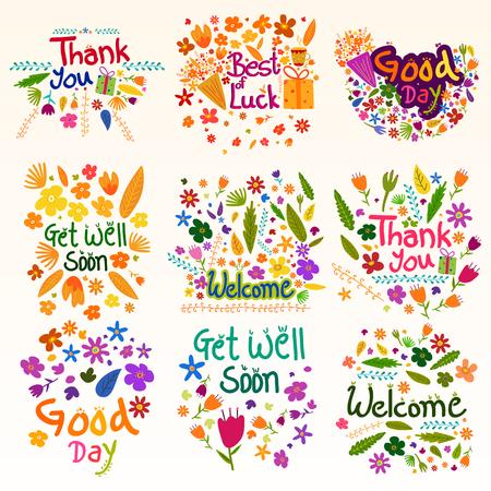 Bedankt en welkom wens en groeten Stock Illustratie