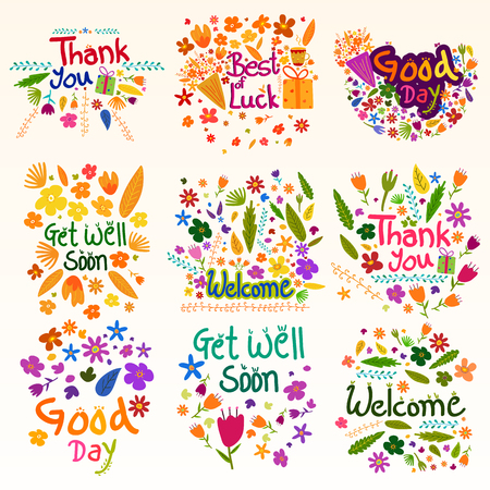 occasions: Thank you and Welcome wishing and greetings Illustration