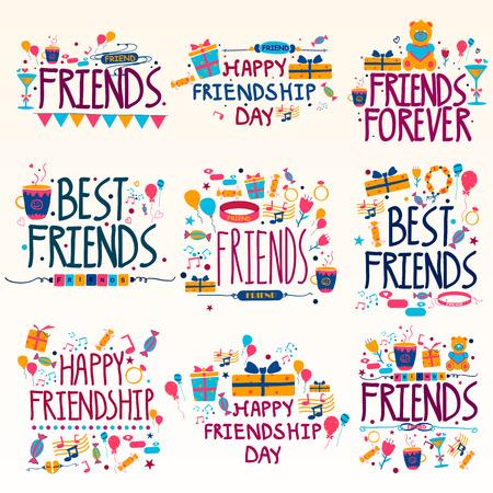 幸せな友情日の休日と祭を希望とご挨拶  イラスト・ベクター素材