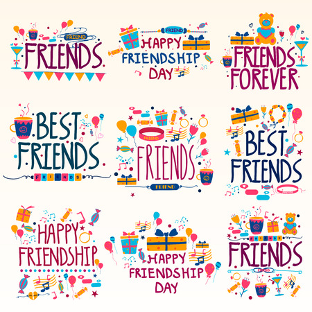 Happy Friendship Day Holiday and Festival wishing and greetings Иллюстрация