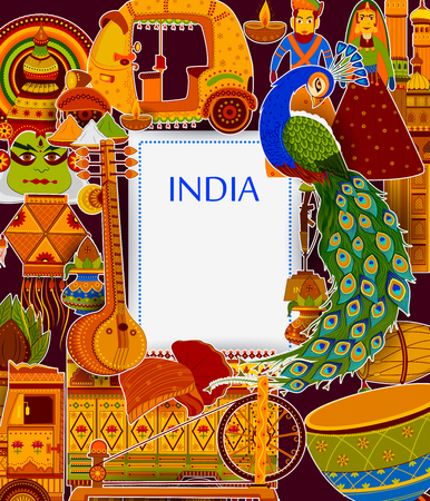 Incredible India background depicting Indian colorful culture and religion Stock fotó - 81375990
