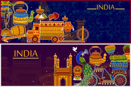 Incredible India background depicting Indian colorful culture and religion
