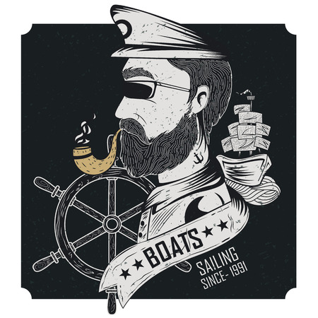 pirate crew: Vintage retro Nautical Voyager label design in vector