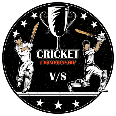 Batsman sports Player playing game of cricket in vector