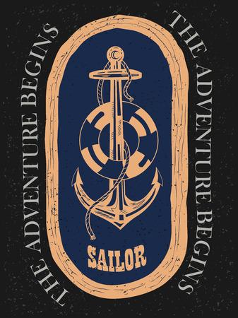 Vintage retro Nautical Voyager label design in vector