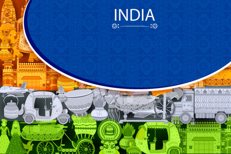 rickshaw: 15th August Independence of India tricolor background in vector