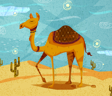 Pet animal Camel on desert background