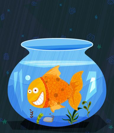 gold fish bowl: Pet animal Fish in water pot aquarium Illustration