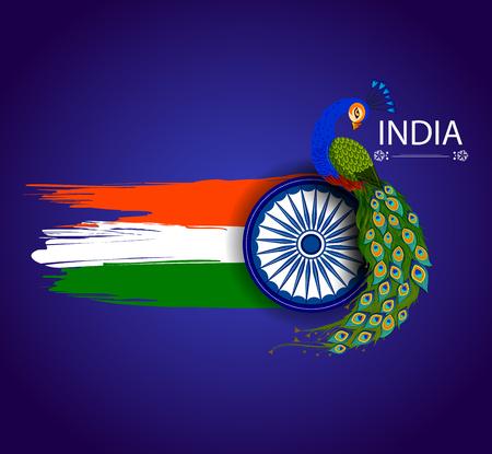 8 월 15 일 인도 삼색 배경의 독립 일러스트