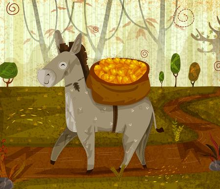 ジャングルの森を背景にペット動物ロバ。ベクトルの図。  イラスト・ベクター素材