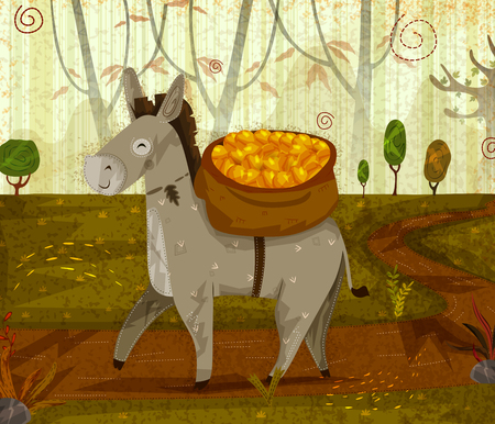 Pet animal Donkey on jungle forest background. Vector illustration. Ilustração