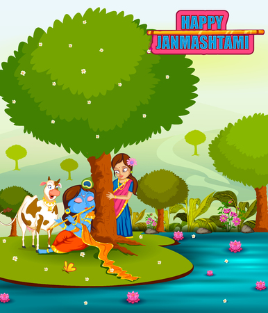 radha: Krishna Janmashtami background Illustration