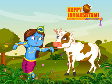 Krishna Janmashtami background Illustration