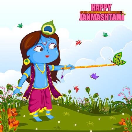 Krishna Janmashtami background Illustration