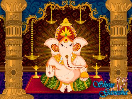 インドの幸せガネーシュフェスティバル祭り祭典のベクトルの主スタジアムなど