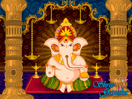 Lord Ganpati in vector for Happy Ganesh Chaturthi festival celebration of India Иллюстрация