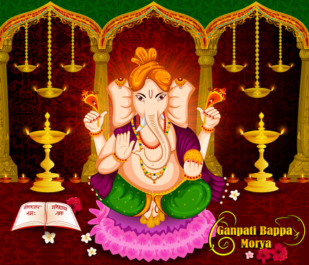 Lord Ganpati in vector for Happy Ganesh Chaturthi festival celebration of India Illustration