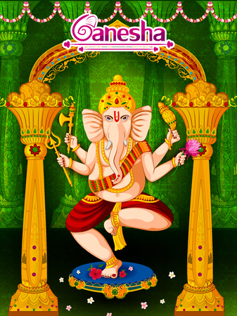 Lord Ganpati in vector for Happy Ganesh Chaturthi festival celebration of India Çizim