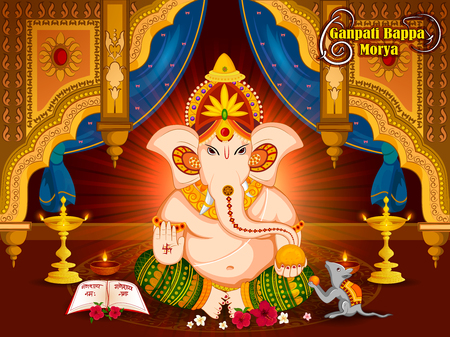 Lord Ganpati in vector for Happy Ganesh Chaturthi festival celebration of India Illusztráció