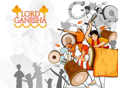 Lord Ganpati for Happy Ganesh Chaturthi festival celebration of India Illustration