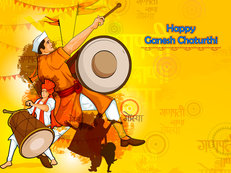 Happy Ganesh Chaturthi festival celebration of India with people celebrating dhol tasha with text in Hindi Ganpati Bappa Morya meaning My Father Ganapati  in vector Illustration