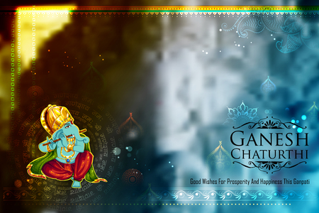 Illustration of Lord Ganpati background for Ganesh Chaturthi with message Shri Ganeshaye Namah Prayer to Lord Ganesha
