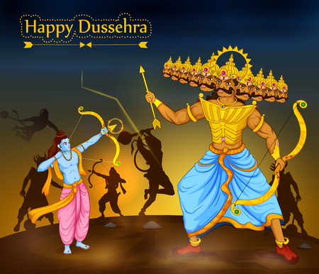 Lord Rama killing Ravana during Dussehra festival of India in vector Reklamní fotografie - 85201378