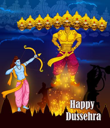 dashamukha: Lord Rama killing Ravana during Dussehra festival of India in vector