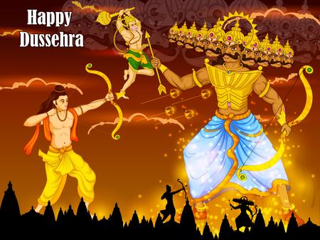 Lord Rama vermoord Ravana tijdens Dussehra festival van India in vector
