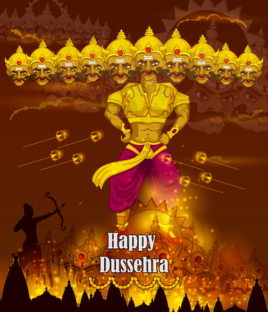 Lord Rama killing Ravana during Dussehra festival of India in vector