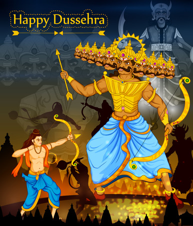 warriors: Lord Rama killing Ravana during Dussehra festival of India in vector