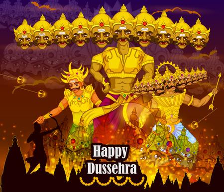 dashamukha: Lord Rama killing Ravana during Dussehra festival of India