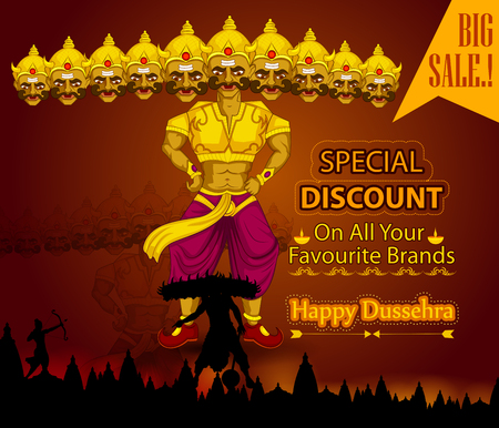 Ten headed Ravana wishing Happy Dussehra festival of India on Sale and Promotion background