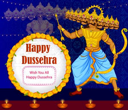 dashamukha: Ten headed Ravana on Happy Dussehra festival background