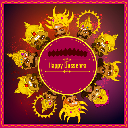warriors: Ten headed Ravana on Happy Dussehra festival background