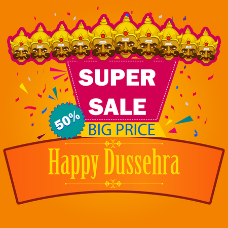 raavana: Ten headed Ravana wishing Happy Dussehra festival of India on Sale and Promotion background