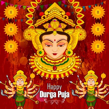 Beautiful face of Goddess Durga for Happy Dussehra or Shubh Navratri festival