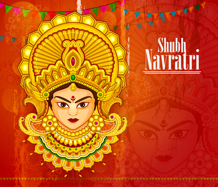 Beautiful face of Goddess Durga for Happy Dussehra or Shubh Navratri festival in vector Illustration
