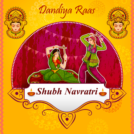 Couple performing Garba dance in Dandiya Raas for Dussehra or Navratri