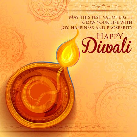 Illustratie van het branden van diya op Happy Diwali Holiday achtergrond voor licht festival van India Stockfoto - 86750284