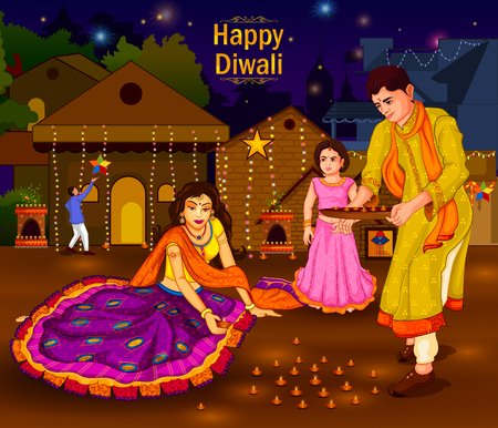 Indian family people celebrating Diwali festival of India Reklamní fotografie - 87227548