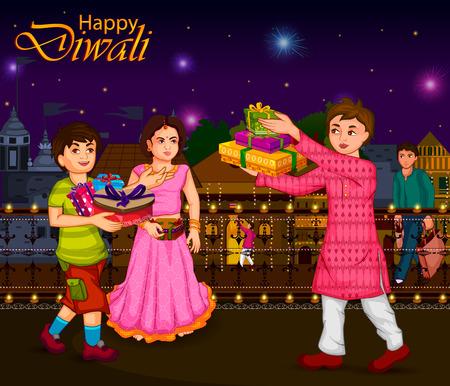 Indian family people celebrating Diwali festival of India in vector Çizim