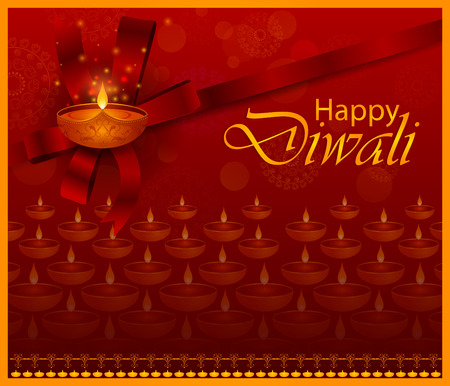Happy Diwali light festival of India greeting background 向量圖像