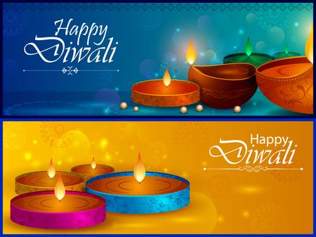 Happy Diwali light festival of India greeting background Illustration