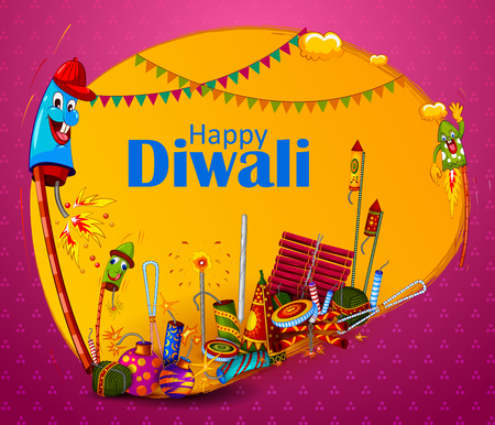 Happy Diwali light festival of India greeting background in vector
