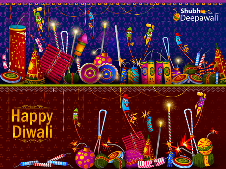 Happy Diwali light festival of India greeting background Illustration