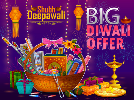 Happy Diwali light festival of India greeting advertisement sale banner background in vector Illustration